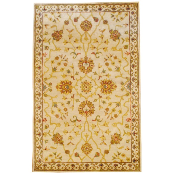 Herat Oriental Indo Hand-tufted Ivory/ Gold Floral Wool Rug (5' x 8')