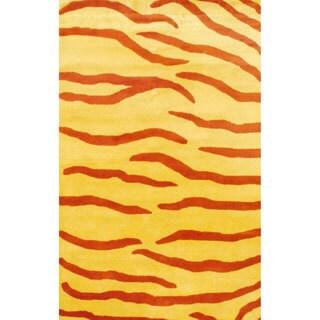 Herat Oriental Indo Hand-tufted Tibetan Zebra Stripe Wool Rug (4' x 6')