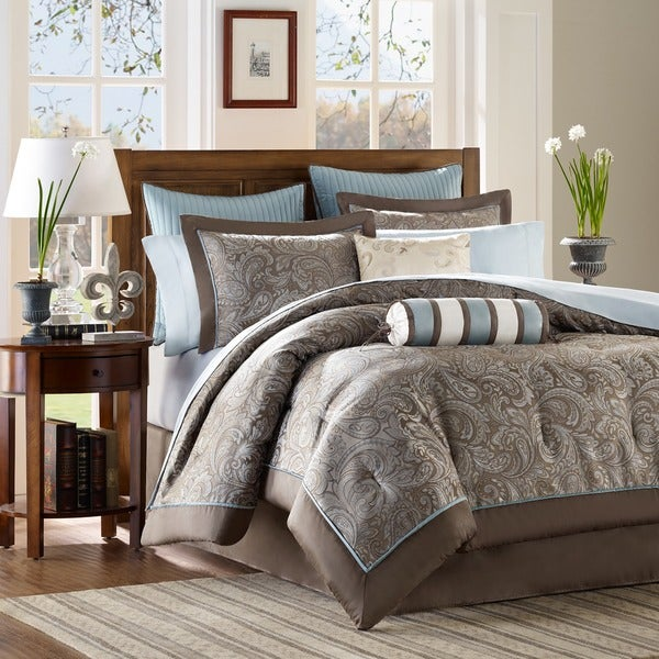 Madison Park Whitman Blue Complete Comforter and Cotton Sheet Set