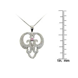 Sterling Silver White and Pink Cubic Zirconia Abstract Necklace - Thumbnail 2