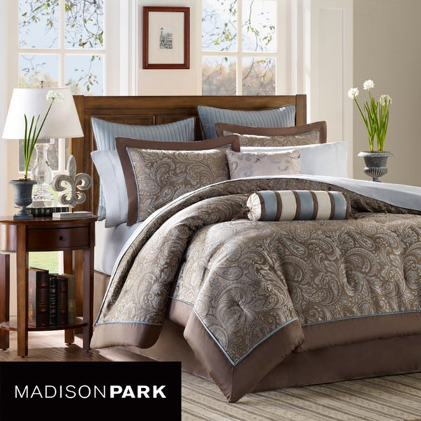 Madison Park Whitman Blue 12-piece Cal King-size Bed in a Bag with Sheet Set