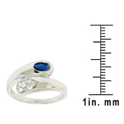 Sterling Silver Blue and White Cubic Zirconia Ring