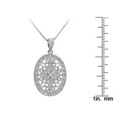 Sterling Silver White Cubic Zirconia Oval Filigree Necklace - Thumbnail 2