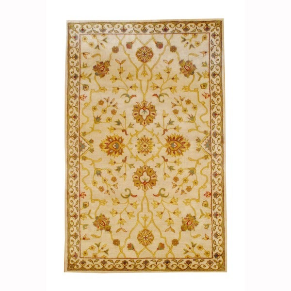 Herat Oriental Indo Hand-tufted Ivory/ Gold Floral Wool Rug (3'3 x 5'3)