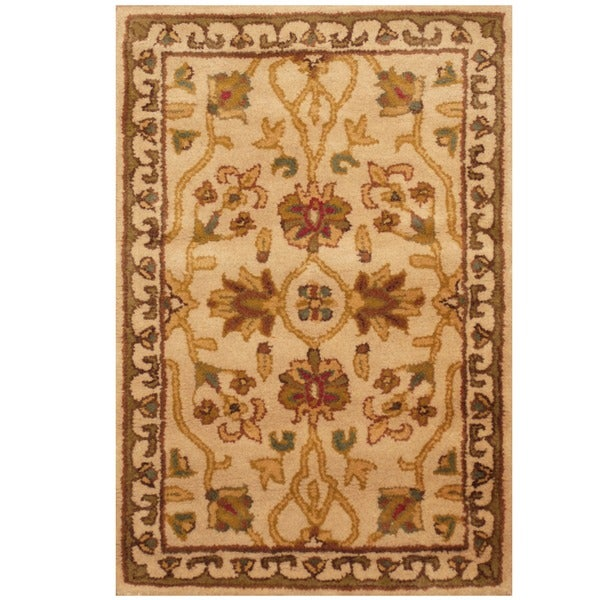 Herat Oriental Indo Hand-tufted Ivory/ Gold Floral Wool Rug (2' x 3')