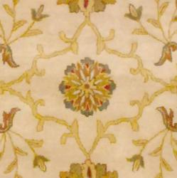 Indo Hand-tufted Ivory/ Gold Floral Wool Rug (8' x 10') - Thumbnail 1