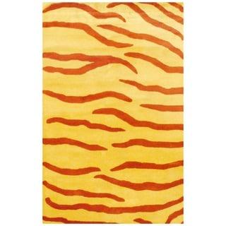 Herat Oriental Indo Hand-tufted Rust/ Yellow Zebra Stripe Wool Rug (5' x 8')