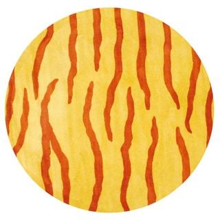 Herat Oriental Indo Hand-tufted Rust/ Yellow Zebra Stripe Wool Rug (8' Round)