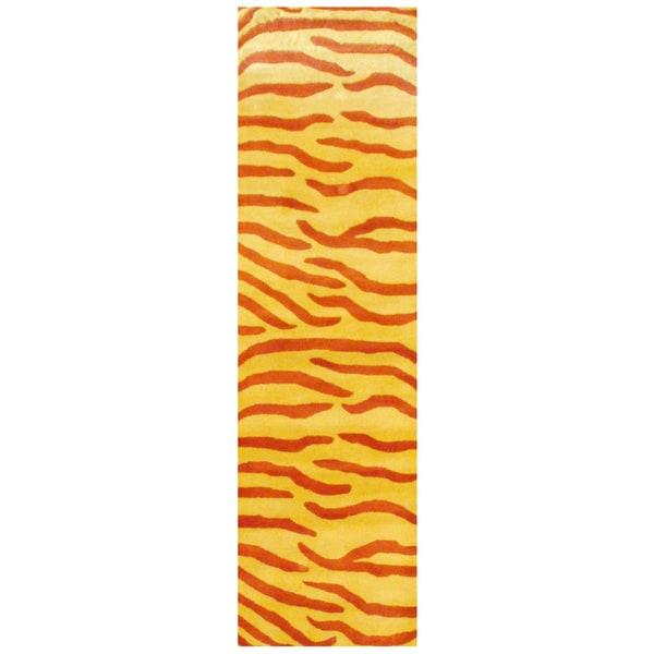 Herat Oriental Indo Hand-tufted Zebra Stripe Wool Runner (2'6 x 8')