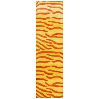 Herat Oriental Indo Hand-tufted Gold/ Rust Zebra Stripe Wool Rug (2'6 x 8')
