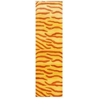 """Handmade Herat Oriental Indo Zebra Stripe Wool Runner (India) - 2'6"""" x 8'"""