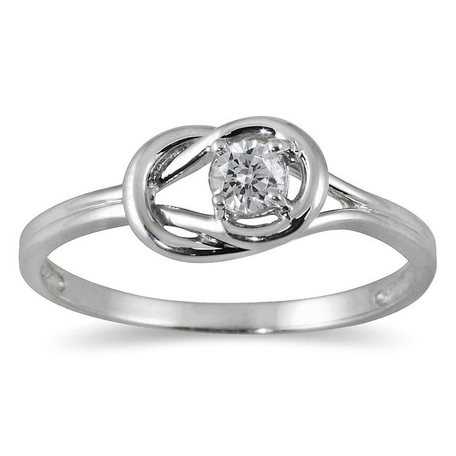 Marquee Jewels 10k White Gold 1/6ct TDW Diamond Solitaire Knot Ring (I-J, I1-I2)