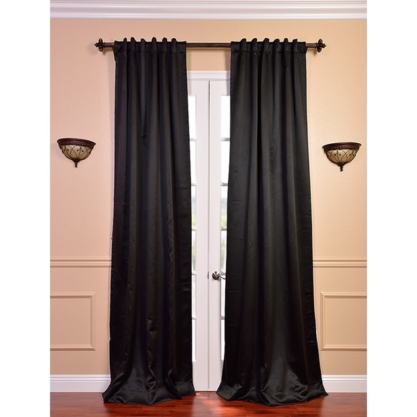 Exclusive Fabrics Jet Black 84-inch Blackout Curtain Panel Pair