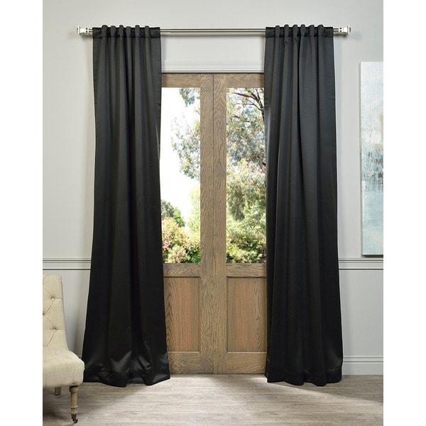 Exclusive Fabrics Jet Black Blackout Curtain Panel Pair