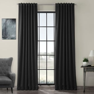Exclusive Fabrics Jet Black Blackout Curtain Panel Pair