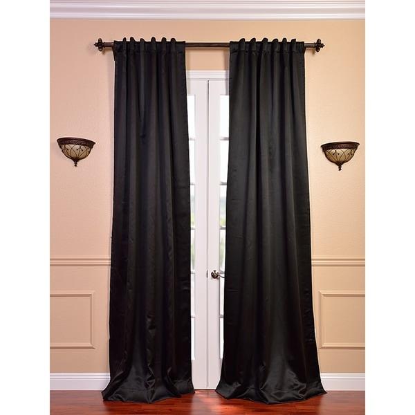 Exclusive Fabrics Jet Black 120-inch Blackout Curtain Panel Pair