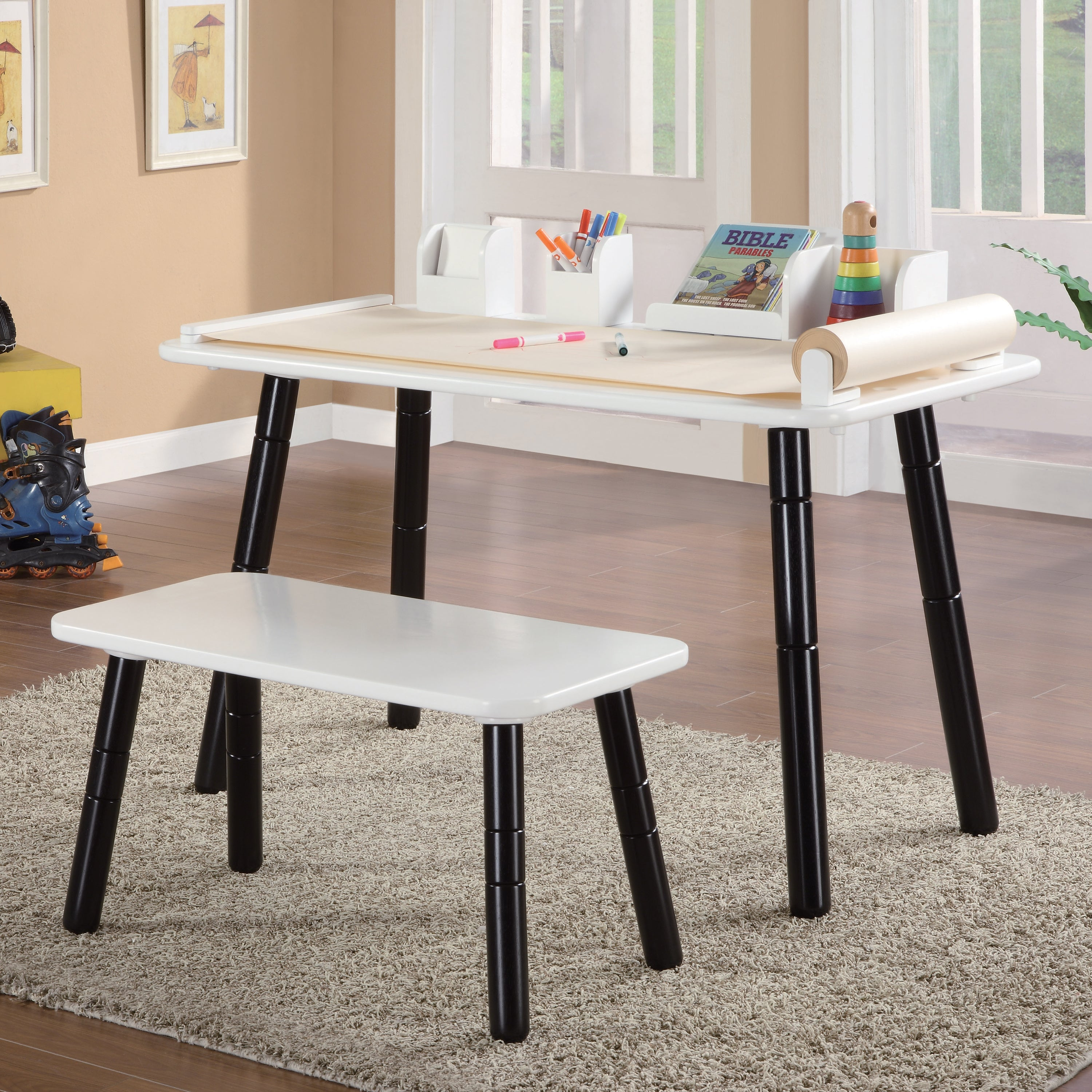 3 Stages Kid's Art Table and Bench Set in White and Black Finish