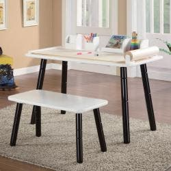 Cool 3 Stages Kids Art Table And Bench Set In White And Black Finish Overstock Com Shopping The Best Deals On Kids Table Chair Sets Gmtry Best Dining Table And Chair Ideas Images Gmtryco