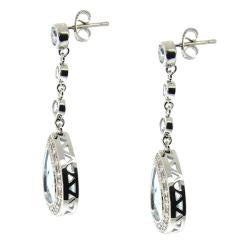 Sterling Silver Blue Cubic Zirconia Teardrop Earrings