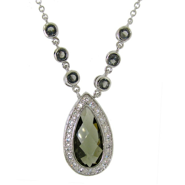 8a23f5555 Shop Sterling Silver Green Cubic Zirconia Teardrop Necklace - Free Shipping  On Orders Over $45 - Overstock - 5957915