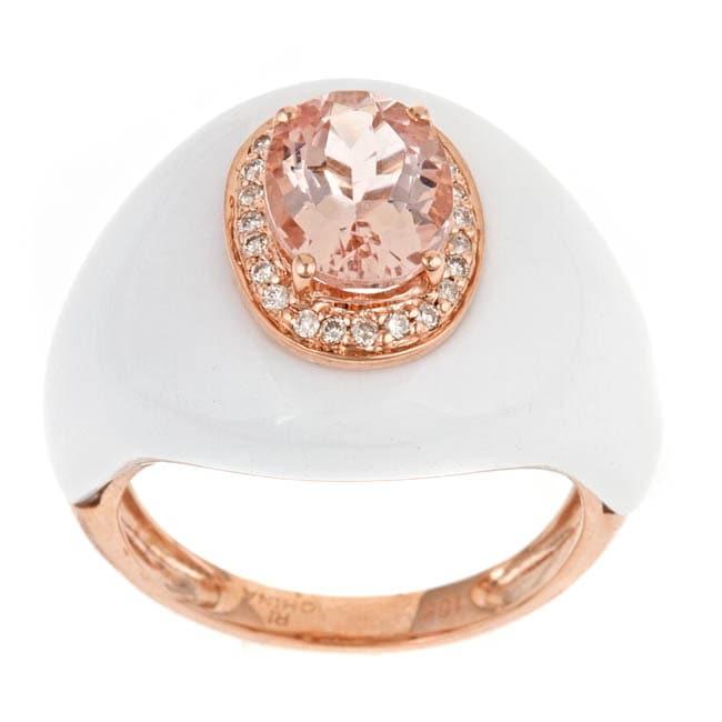 10k Rose Gold Morganite, Agate and 1/6ct TDW Diamond Ring (G-H, I1-I2)