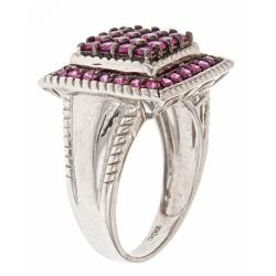 D'Yach Sterling Silver 1 4/5ct TGW Heated Ruby Fashion Ring - Thumbnail 1