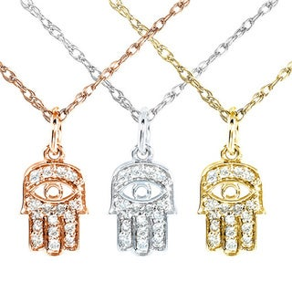 Annello by Kobelli 14k Gold 1/10ct TDW Diamond Accent Mini Hamsa Necklace