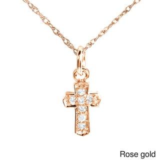 Annello by Kobelli 14k Gold Diamond Accent Mini Charm Size Cross Necklace