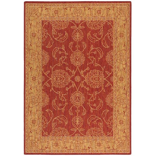 Nourison Seasons Red Floral Rug (5'3 x 7'6)