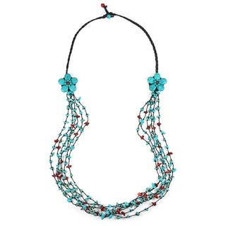 Handmade Cotton Long Double Flowers Turquoise and Red Coral Necklace (Thailand)