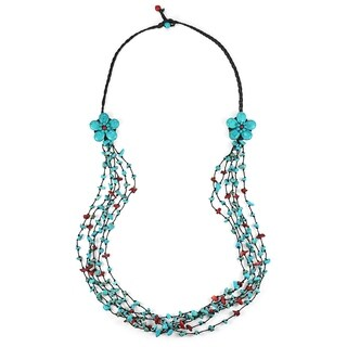 Long Double Blue-Red Flowers and Stone Nuggets Necklace (Thailand)