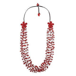 Handmade Cotton Long Double Flowers Red Coral Necklace (Thailand)