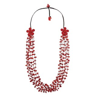Handmade Double Synthetic Coral Flowers and Stone Nuggets Necklace (Thailand)