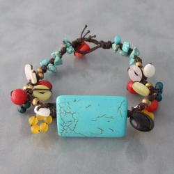 Cotton Rectangle and Cluster Multi-gemstone Cuff Bracelet (Thailand)