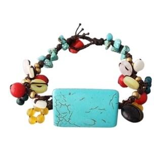 Handmade Cotton Rectangle and Cluster Multi-gemstone Cuff Bracelet (Thailand)