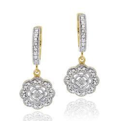 DB Designs 18k Gold over Sterling Diamond Accent Flower Dangle Earrings