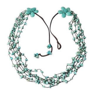 Handmade Cotton Long Reconstructed Turquoise Double Flower Necklace (Thailand)