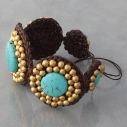 Handmade Cotton and Brass Reconstructed Turquoise Round Link Bracelet (Thailand) - Thumbnail 1