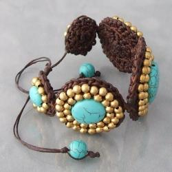 Handmade Cotton and Brass Reconstructed Turquoise Round Link Bracelet (Thailand) - Thumbnail 2