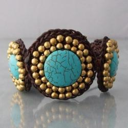 Cotton and Brass Reconstructed Turquoise Round Link Bracelet (Thailand)