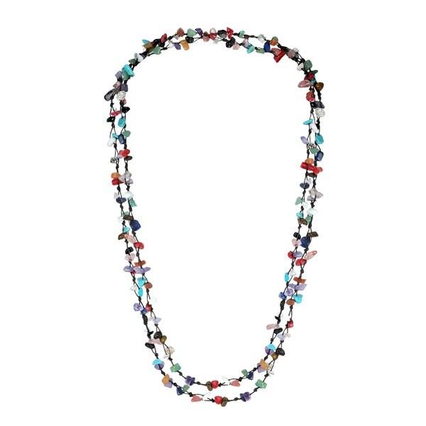 Handmade Cotton Rope Multi-gemstone Nugget Necklace (Thailand)