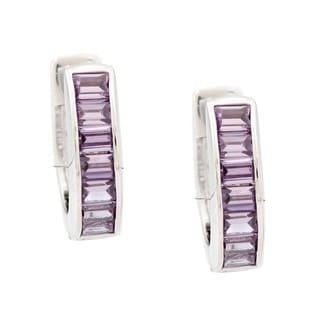 Kate Bissett Silvertone Purple Cubic Zirconia Ear Cuff Earrings
