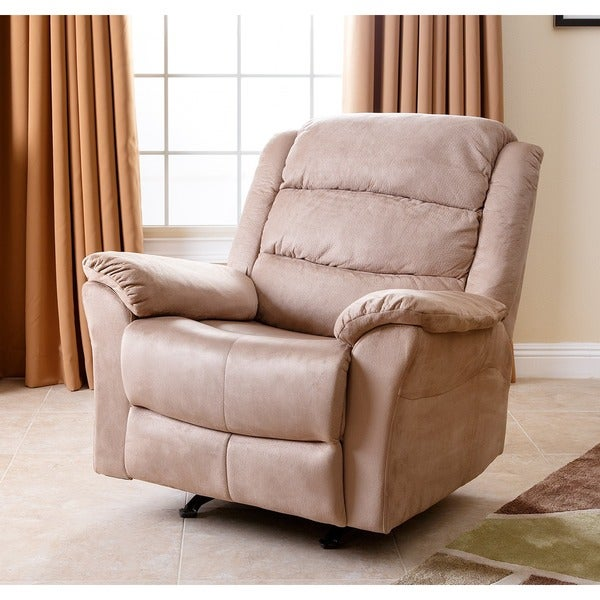 Abbyson living sydney beige microsuede rocker recliner for Abbyson living soho cream fabric chaise