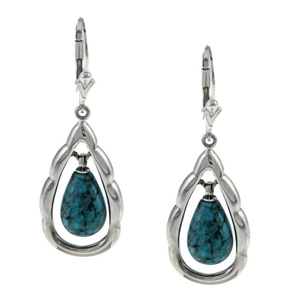 Southwest Moon Sterling Silver Turquoise Teardrop Earrings