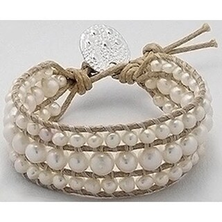 Organic Cotton 'Full Moon' Freshwater Pearl Pull Bracelet