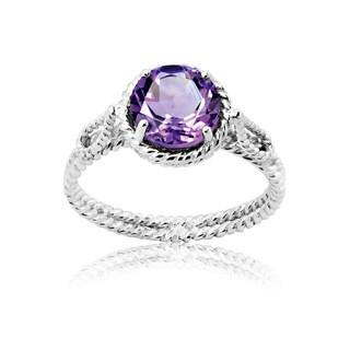 La Preciosa Sterling Silver Amethyst Braided Ring