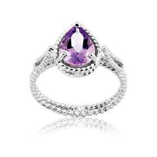 Shop La Preciosa Sterling Silver Amethyst Teardrop Ring