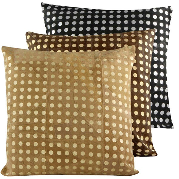 Handmade Patched Suede Leather Metallic Dots Print Decorative Pillow (India)