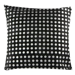 Handmade Patched Suede Leather Metallic Dots Print Decorative Pillow (India) - Thumbnail 1