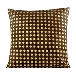 Handmade Patched Suede Leather Metallic Dots Print Decorative Pillow (India) - Thumbnail 2